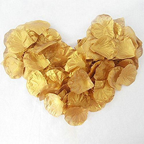 EMAXELER [Broken Girls Flowers]1000pcs Gold Silk Rose Flower Petals for Wedding Table Confetti Bridal Party Flower Girl Decoration 1000pcs Gold
