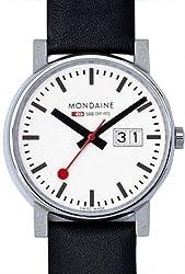[モンディーン]MONDAINE 腕時計 エヴォ ビッグデイト ホワイト文字盤 ブラックレザーストラップ A669.30300.11SBB メンズ [正規輸入品]