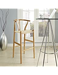 LexMod Hourglass Wood Bar Stool, Natural by LexMod