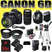 Canon EOS 6D 20.2 MP Full-Frame CMOS Digital SLR with 24-105mm f/4.0L IS USM AF Lens w/ Canon EF 75-300mm f/4-5.6 III Telephoto Zoom Lens TWO LP-E6 Replacement Lithium Ion Battery w/ External Rapid Charger 16GB SDHC Class 10 Memory Card 77mm Wide Angle / Telephoto Lenses Filter Kit Full Size Tripod External Slave Flash Deluxe SLR Backpack Mini HDMI Cable Deluxe Starter Kit DavisMAX Bundle
