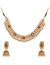 Shahenaz Jewellers 24 Ct Gold Plated Bridal Jewellery Set With Rodolite, Marquis And CZ Stones For Women - B00R2IOC66