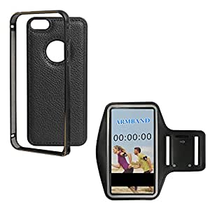 DMG Metal Frame and Leather Back Bumper Dual Protection Cover Case For Apple iPhone 5/5S (Black) + Exercise Workout Armband