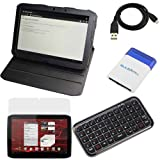Evecase Black Leather Multi-Angle Rotating Folio Cover Case with Built-in Stand + LCD Screen Protector + Bluetooth Wireless Mini Keyboard + Micro USB Cable + Mini Brush for Motorola Xoom 2 (10.1 Inch ) Android Tablet