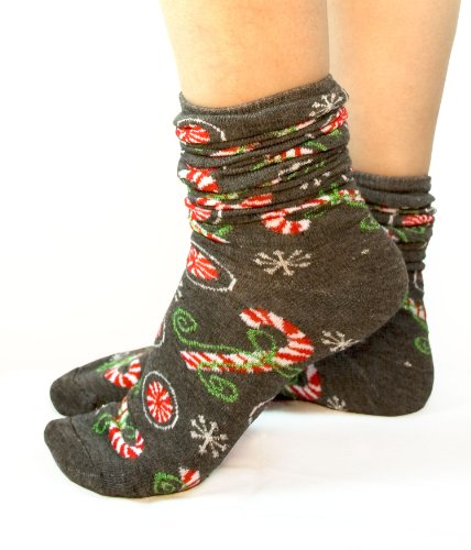 Candy Cane Grey Slouch Holiday Socks  Silver