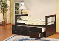 Big Sale Espresso Finish Wood Twin Size Captains Day Bed With Trundle & 3 Drawers