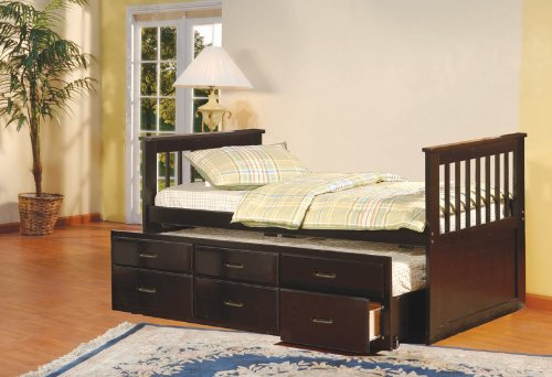 Ideal Espresso Finish Wood Twin Size Captains Day Bed With Trundle uamp Drawers