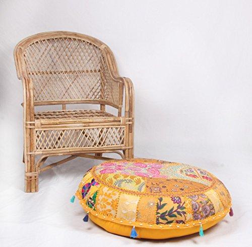jth Vintage con decorativo indiano ricamato ottomano Pouf Ethnic Art Pouf (dimensioni: 81,3x 22,9x 81,3cm)