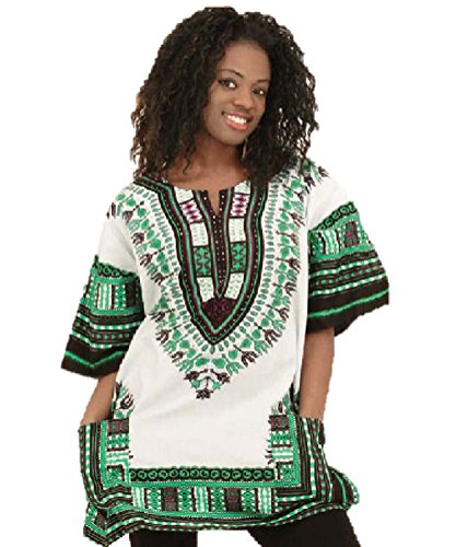 Traditional Thailand Style Dashiki - Available in Several Color Combinations, White with Green