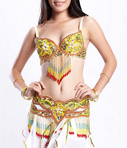 Belly Dance Performance Costumes , Halter Bra Tops and Hip Belt Wrap