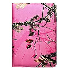 Apple iPad Mini 2 Retina Pink Real Camo Camouflage Mossy Tree PU Leather 360 rotating Smart Case Cover with Closing band