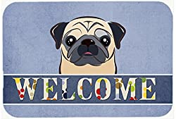 Carolines Treasures BB1448JCMT Fawn Pug Welcome Kitchen or Bath Mat, 24 by 36 , Multicolor