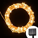 Solar String Lights - 200 LED Outdoor Starry String Lights - Waterproof Silver Wire Lights For Christmas - Seasonal Decorative - Outdoor - Gardens - Party(65.6 ft - Warm White)