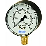 WIKA 9852344 Capsule Low Pressure Gauge, Dry-Filled, Copper Alloy Wetted Parts, 2-1/2