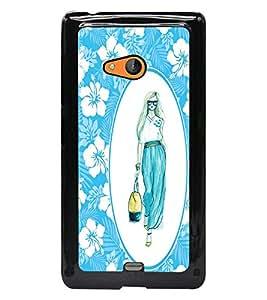 PrintDhaba Stylish Girl D-1135 Back Case Cover for MICROSOFT LUMIA 540 (Multi-Coloured)