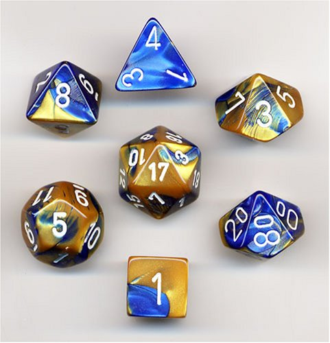 Polyhedral 7-Die Gemini Dice Set - Blue & Gold W/White (D4, D6, D8, D10, D12, D20 & D00)