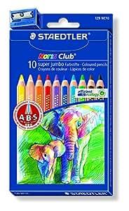 Staedtler Noris Club 1287 Etui de 10 crayons de Couleurs super jumbo + 1 taille-crayons