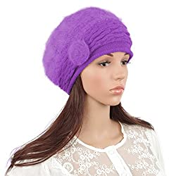 Janey&Rubbins Women's Fur Beanie Beret Hats Skull Skiing Caps (Purple)