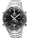 Casio EFA-135D-1A4VEF Edifice Men's Quartz Watch with Black Dial Analogue - Digital Display and Silver Stainless Steel Bracelet with Countdown Timer