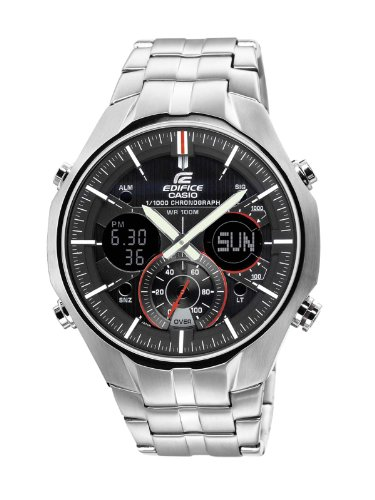 Casio Edifice Men's Quartz Watch with Black Dial Analogue - Digital Display and Silver Stainless Steel Bracelet EFA-135D-1A4VEF with Countdown Timer