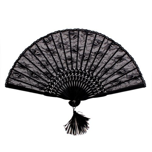 NSSTAR High Quality Lady's Girl's Vintage Retro Flower Lace Handheld Folding Hand Fan (Black) (Black Fans compare prices)