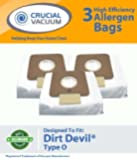 3 Dirt Devil Type O Replacement Allergen Bags Designed To Fit Dirt Devil Type O Tattoo Canister Vacuums; Compare To Part # AD10030, 304235002, 304235001, 3-04235-00, 83-2450-06; Designed & Engineered By Crucial Vacuum