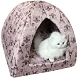 Favorite® 16 Inch by 16 Inch Pyramid Cat Bed/Pet Bed, Polyester Machine Washable Puppy Den/Kitten Den with Reversible Pillow