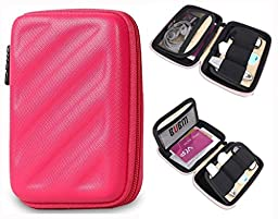 BUBM Electronics Accessories Organizer Travel Carrying Case Digital Storage Bag EVA Series for Various Cables,Cards(LCP,Red)