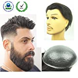 PU Skin Toupee for Men, N.L.W. European Human Hair Pieces for Men with 10
