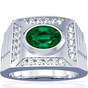 Platinum Oval Cut Emerald Mens Ring