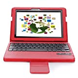 QQ-Tech Removable Detachable Wireless Bluetooth Keyboard Case Cover For Kindle Fire HDX 8.9  -Red