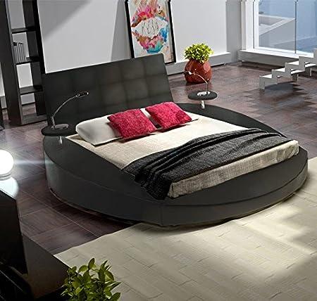Muebles Bonitos - Cama redonda modelo sanabria en color negro-160x200cm