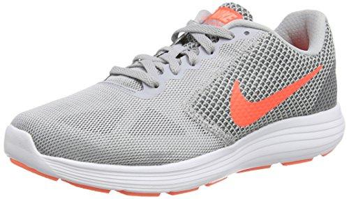 Nike Revolution 3 - Zapatillas de Entrenamiento, Mujer, Multicolor (Wlf Gry / Hypr Orng Cl Gry Atmc), 38