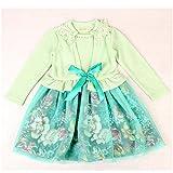 KAKA(TM) Lovely Girls Green Long Sleeve One Piece Dress Gauze Skirt Party Costume Dress With Bowknot