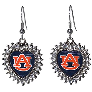 Auburn Tigers Fishhook Earrings with Crystal Rhinestones Surrounding the Heart Shaped... by Judson