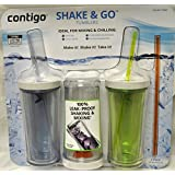 Contigo Shake & Go Plastic Tumblers - Set of 3 (Green Navy & Clear)