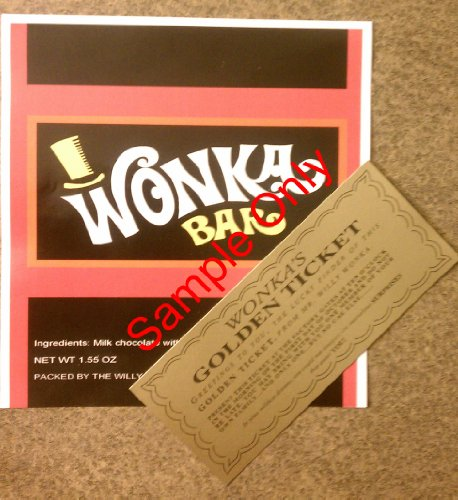 1.55 oz. Willy Wonka chocolate bar wrapper & golden ticket-Mini - no chocolate included (Willy Wonka Bar compare prices)