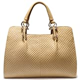 Newfashinoed Woven Pattern Pure Color Leather Tote Handbag