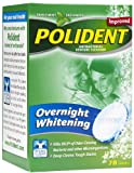 Polident Overnight Whitening, Antibacterial Denture Cleanser Tablets, 78-Count Boxes (Pack of 3)