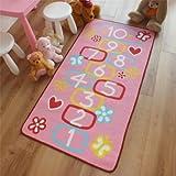 Superb Kids / Childs Rug Hopscotch Bright Pink Play Mat 0.8m x 1.5m (2'6 x 5' approx)