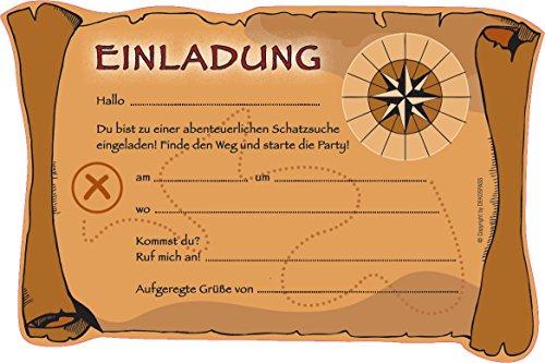 6 einladungskarten schatzsuche f r eine mottoparty schnitzeljagd oder kindergeburtstag von. Black Bedroom Furniture Sets. Home Design Ideas