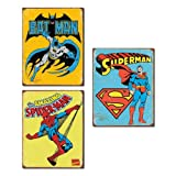 Tin Sign Set of 3 Batman Spiderman Superman