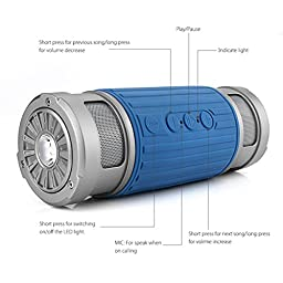 Peres® Waterproof Outdoor Sports Bluetooth Speaker ,Tf Card/audio Input/ip45 Waterproof/3-mode Torch/microphone Bluetooth Call - Portable Handfree Wireless Audio Stereo Speaker with LED Light (Blue)