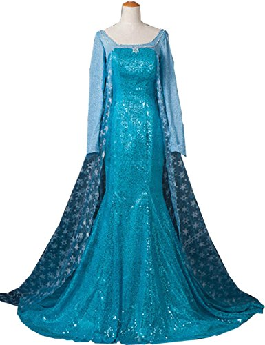 Aishang Womens Queen Elsa Cosplay Coronation Party Dress Costume