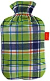 Fashy Tartan Covered Hot Water Bottle 2.0L Green