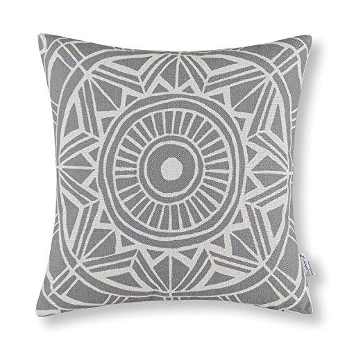 "Euphoria Home Decor Cushion Covers Pillows Shell Cotton Linen Blend Compass Geometric Gray Color 18"" X 18"""