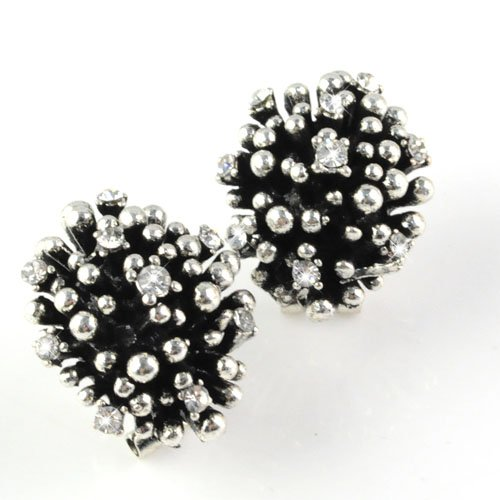 Red Bay Stud Earring Antique Finish with Rhinestones,er-526