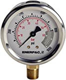 """Enerpac G2536L Hydraulic Pressure Gauge, Lower Mount, 2.5"""" Face, 1/4"""" NPTF, 0 to 15,000 PSI, 0 to 1,000 bar, Silver"""
