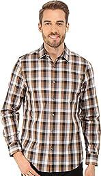 Perry Ellis Men\'s Slim Fit Color Check Pattern Shirt, Otter, Large
