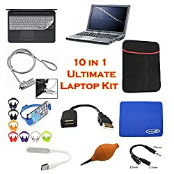 (10 in 1) SNDIA [Laptop Accessory Kit] Laptop Screen Guard, USB 2.0 Extension Plug 15cm, Keyboard Protector 15.6inch, Laptop Sleeve Bag 15.6 inch, Rubber Pump Air Blower, Mini USB LED Flexible Led Lamp ,Ok Stand, Mouse Pad,3.5MM Jack Splitter & Laptop Security Cable 1M