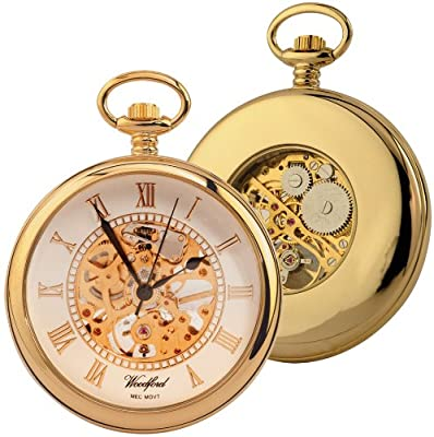 Woodford Pocket Watch 1030 Gold Plated Skeleton Open-Face